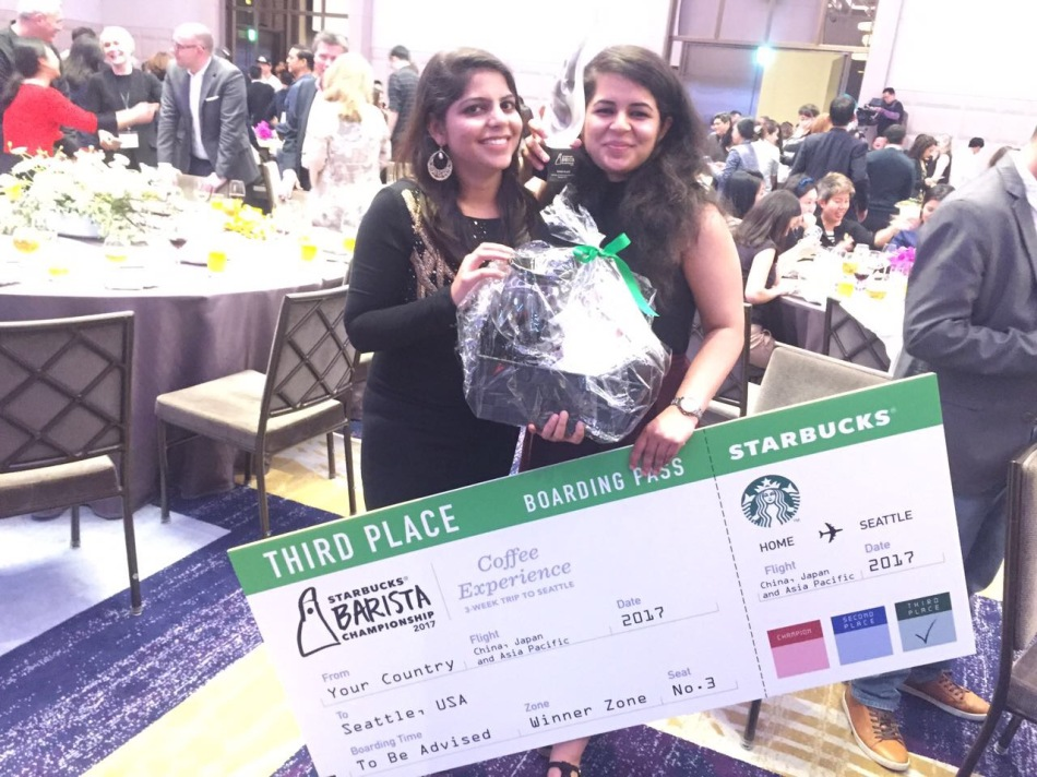 Geetu Mohnani with her ticket to the Starbucks Coffee Hub in Seattle