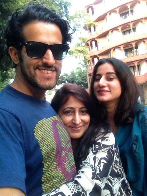 With brother Sahil and mom Bindu