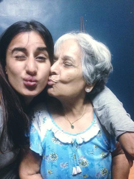 With her grandma who has her own online fan club, 'Nani Chopra'