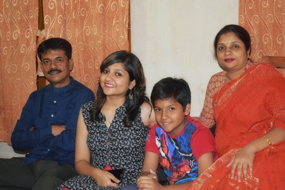 Medha Saha and family