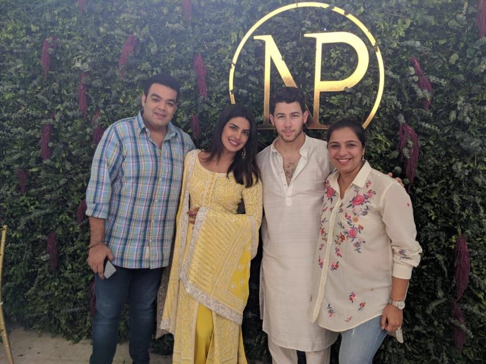 Shaadi Squad team (Tina Tharwani and Saurabh Malhotra) with Priyanka Chopra and Nick Jonas on their engagement