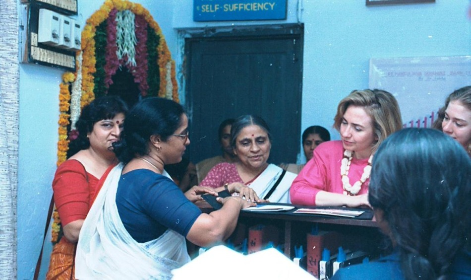 Hillary Clinton with Ela Bhatt